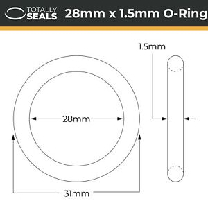 27mm x 2mm 31mm OD Nitrile Rubber O-Rings 70A Shore Hardness Pack of 10