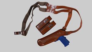 L40003 Basketweave Shoulder Holster /& Double Magazine Case Colt 1911 LEFT HANDED