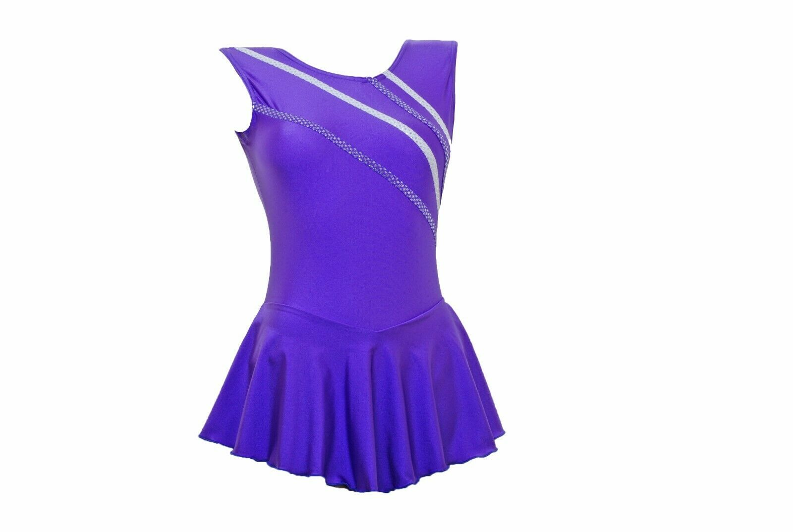 Skating Dress - Purple LYCRA   Metalic stripes NO SLEEVE ALL SIZES AVAILABLE
