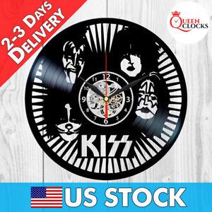 Image Is Loading KISS Rock Band Vinyl Record Black Wall Clock