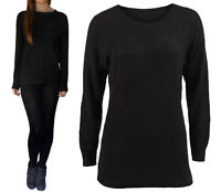 Warm Winter Long Cosy Soft Chunky Knit Slouchy Relaxed Oversized Jumper XS - L