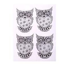 CB029 4 x adesivo Owl Glitter & Brillantini Strass Owl Gemme