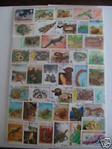 Timbres Reptiles : 100 Timbres Tous Differents / Stamps Reptiles