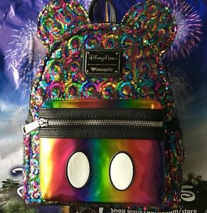00e87f56a2b Image is loading Disney-Parks-Loungefly-Rainbow-Sequin-Mini-Backpack-Mickey-