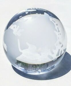 Vintage Etched Round Earth Globe World Map Glass Clear Paperweight Desk Decor