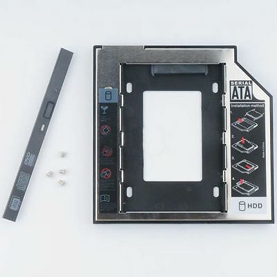 9.5mm Universal SATA 2nd HDD SSD Hard Drive Caddy for CD / DVD-ROM Optical Bay #