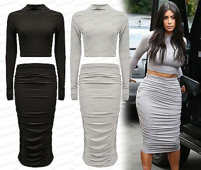 Ladies New Celebrity Kardashian Two Piece Crop Set Ruffle Long Sleeve Size 8-14