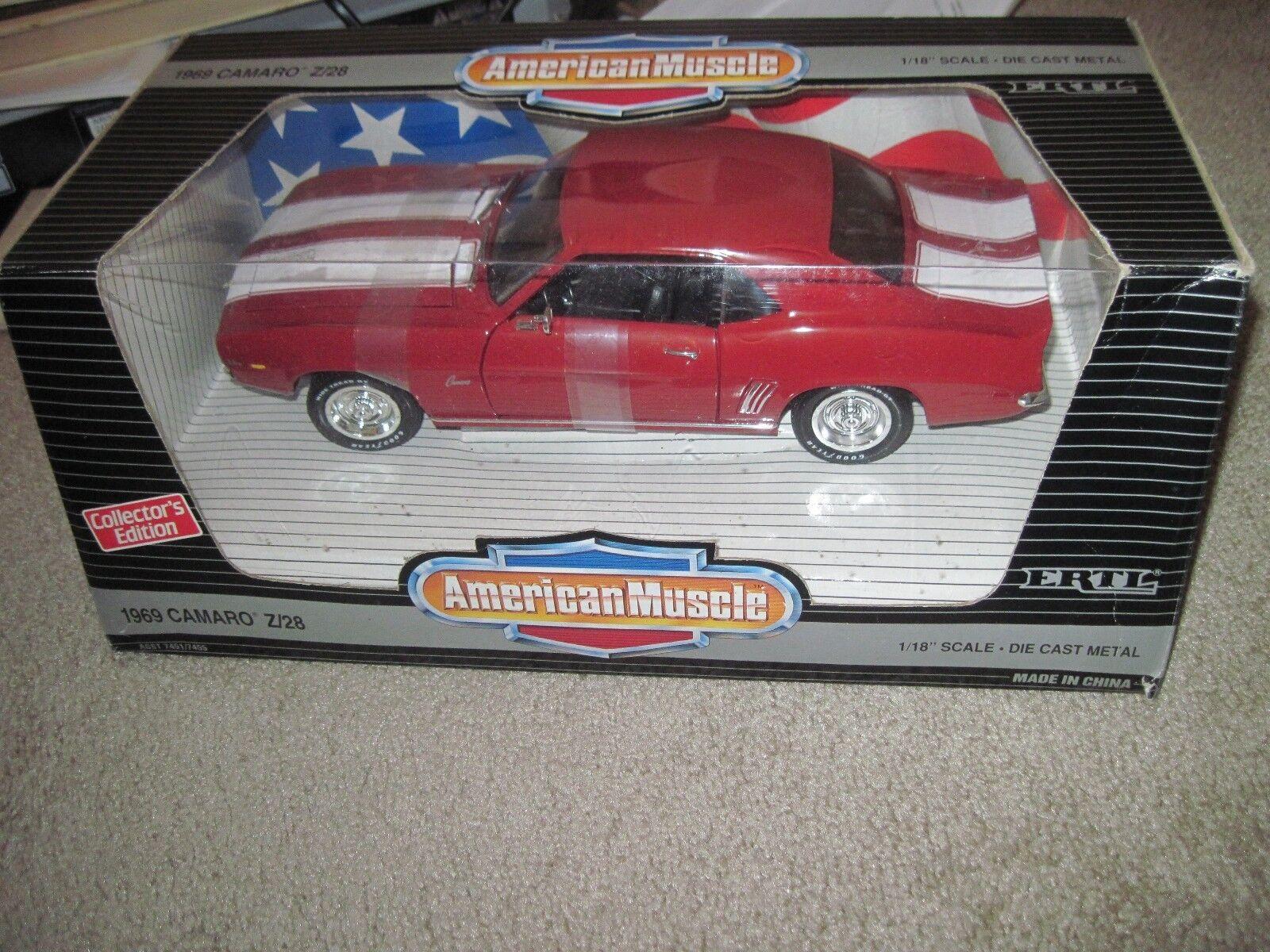 Ertl 1 18 1969 Chevrolet Camaro Z 28 Rojo 7455 American Muscle 69 DIE-CAST nos
