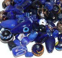 G2553d Dark Blue Handblown Lampwork Glass 6-19mm Bead Assortment 100 Grams
