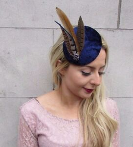 Image is loading Navy-Blue-Brown-Pheasant-Feather-Pillbox-Hat-Fascinator- 71a86b37313