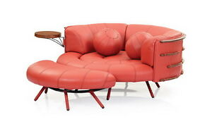 """60"""" Round sofa light red brick italian leather waxed exotic wood hand crafted"""