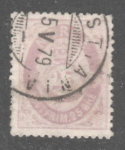 NORWAY STAMP #28 — 1877 -- 25o LILAC -- USED