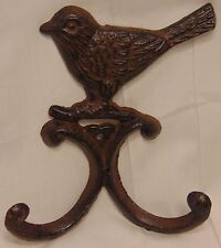 Cast Iron Bird Double Wall Coat Hook Hanger Decor Rustic Garden Patio #CES224