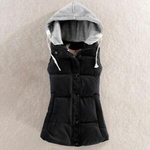 New-Women-039-s-Hooded-Vest-Coat-Waistcoat-Sleeveless-Jacket-Outwear-Top-Gilet-Black