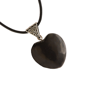 Shungite-Heart-Pendant-Necklace-Leather-Cord-Reiki-Healing-Crystal-Jewelry