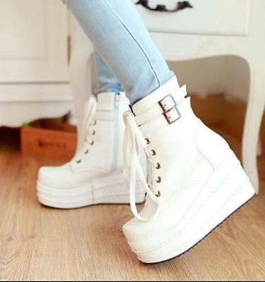 Hot Womens Cosplay Lace Up Platform Wedge Heel Buckle Zip Ankle Boot Shoes F289