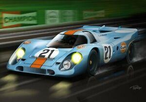 Print on canvas 1970 Porsche 917 #21 24h Le Mans by Dutch artist Ron de Haer