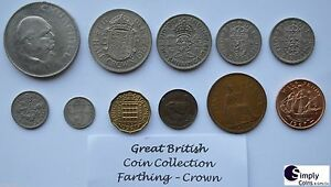 BRITISH-COIN-COLLECTION-PRE-DECIMAL-COINS-OF-THE-UK-CROWN-FARTHING-1900-1967