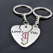 Cute Arrow & I Love You Heart & Key Couple Chain Ring Keyring Keyfob Lover Gift