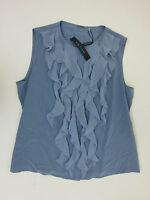 Elie Tahari Estella Sleeveless Ruffle Silk Blouse - Womens Medium - Blue -