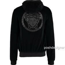 VERSACE Leather Medusa Appliqué Velvet Tracksuit M Authentic