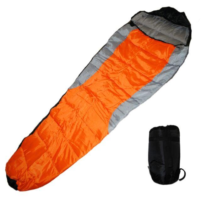 Mummy Type Camping Sleeping Bag With Carrying Case Orange Grey Black
