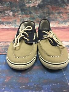 Men-039-s-Sperry-Top-Sider-CANVAS-BLUE-And-Tan-Boat-Shoes-Size-5-5-M
