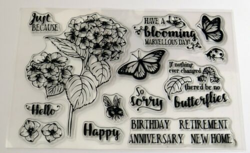 Bee /& Sentiments Clear Stamp Set FREE P /& P Butterfly Hydrangea Flowers