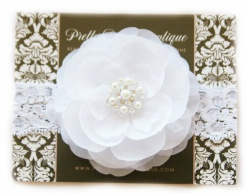 White Flower Lace Christening Baptism Blessing Baby Headband Handcrafted in USA
