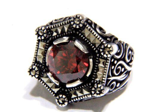 Türkei Ottomane Red Achat Edelstein  Marcasite Solide 925 Sterling Silber