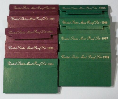 1990 Through 1998 PROOF sets Lot of 9 Sets