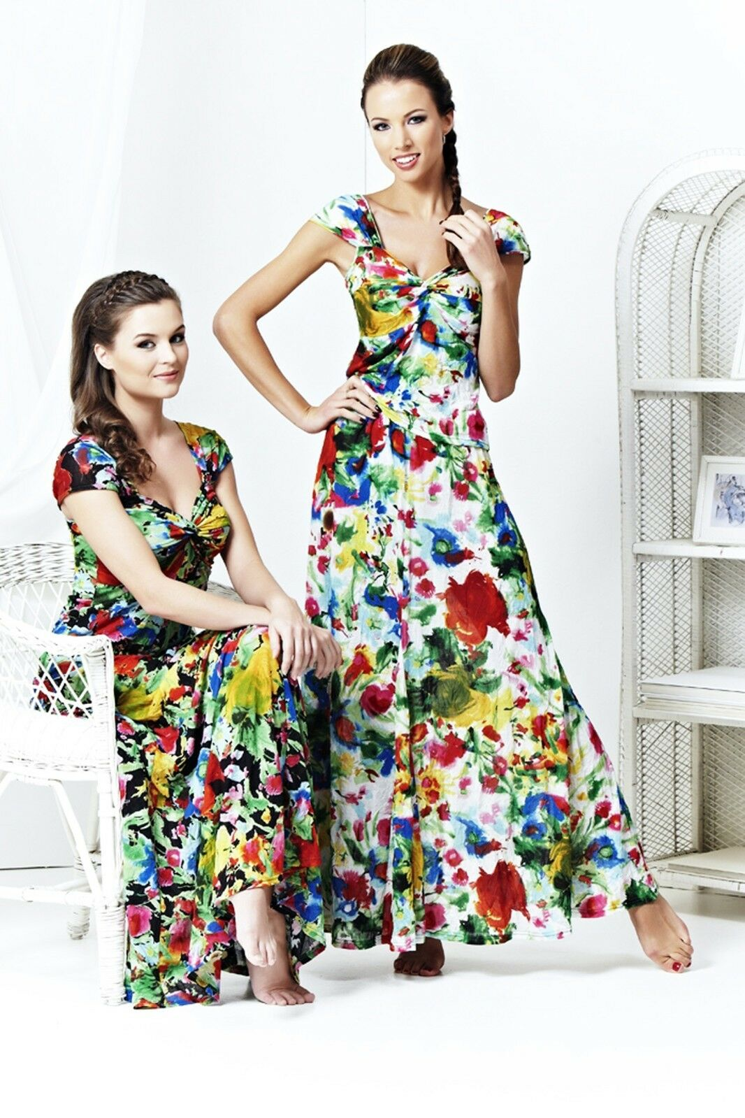 PARTY FLORAL LONG SKIRT SET SUMMER SLEEVELESS TOP MADE IN EUROPE S M L