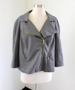NWT New Lane Bryant Gray Asymmetric Zip Tailored Stretch Blazer Jacket Size 14
