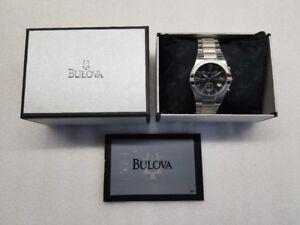 Bulova-Sport-Data-Cronografo-Quadrante-Nero-Acciaio-Inox-UOMO-Watch-96G18-Nuovo