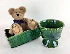 Lot-2-McCoy-Pottery-Green-Vase-Planter-Plants-Pedestal-Mid-Century-MCM-Vtg-Gift