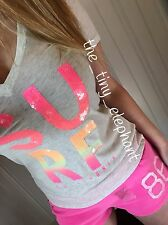 NWT Victoria Secret Love Pink 86 Neon Bling Sequin Tee Shirt Sweat Shorts Set M