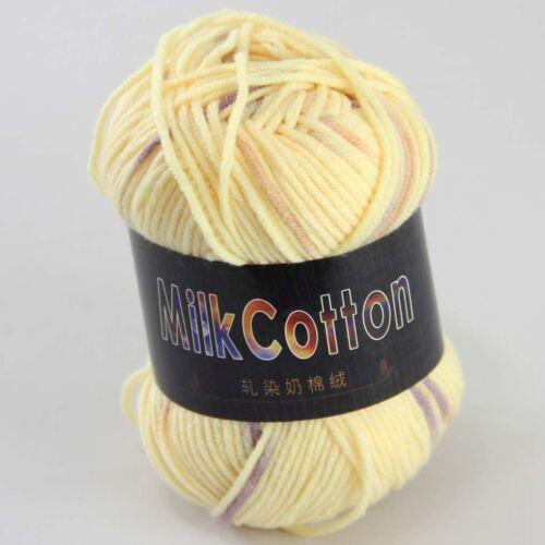 Multi-Color 1 ballx 50g Algodón Suave Bebé a mano teñido de Calcetines de Lana Bufanda De Hilo De Ganchillo