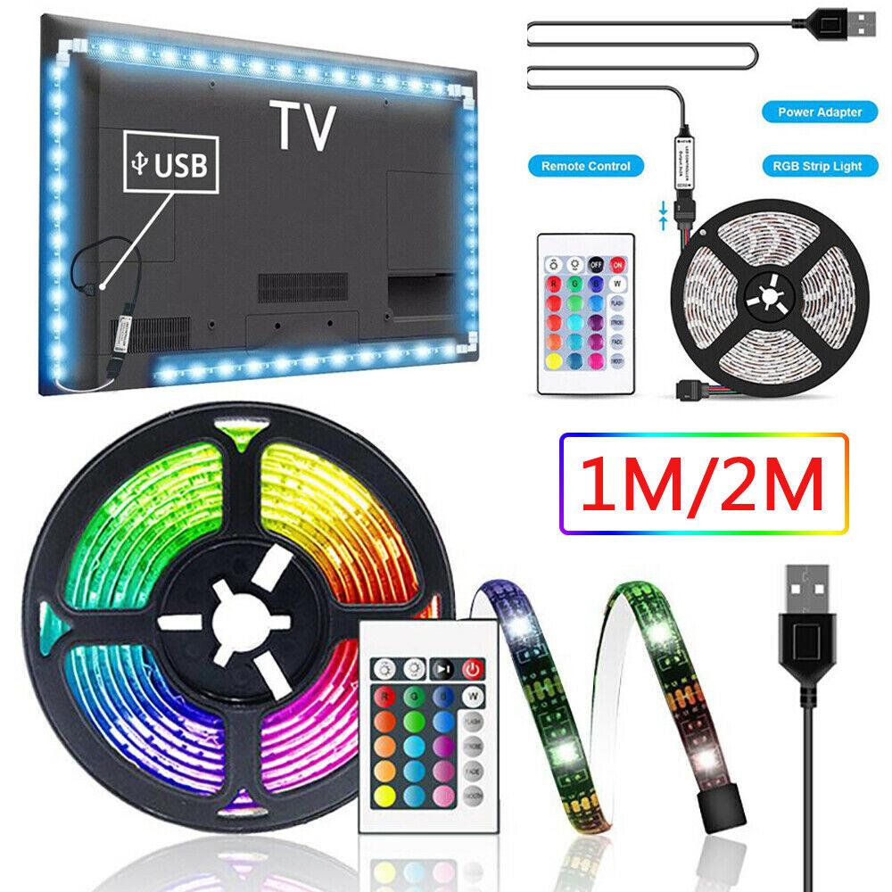 "6.56ft USB LED TV Backlight 5050 RGB Fairy Lights for 40-60/"" TV Room Decoration"