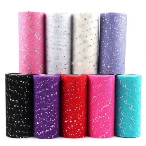 25Y Sparkle Glitter Sequin TUTU Tulle Net Fabric Roll Ribbon Wedding Party Skirt