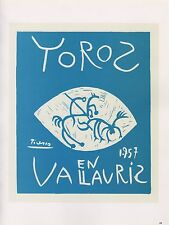 """1989 VINTAGE """"TOROS EN VALLAURIS 1957"""" PICASSO Color offset Lithograph"""
