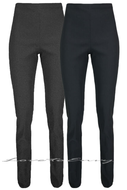 Women/'s Office School Work Tailored straight Trousers Black UK 10-18
