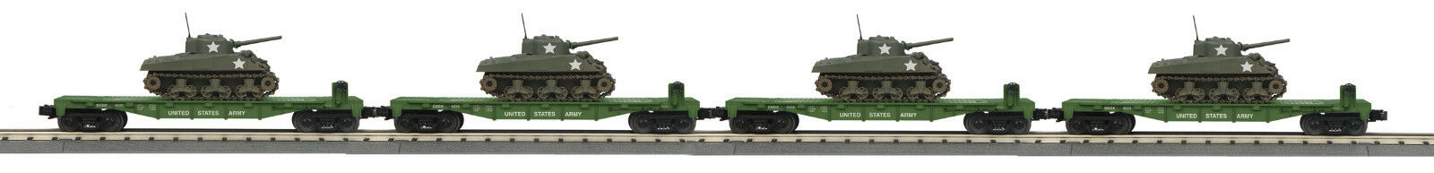MTH  30-7093 O Gauge RailKing 4-Car Flat Car w w w Sherman Tank Set 7b7c75