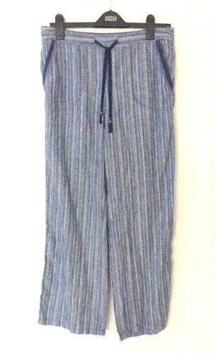 Ladies M/&S Sizes 10S 10M  Tie Front Wide Leg Pure Linen Trousers Bnwt
