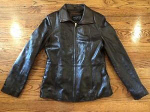 90a395a3a Details about Women's Brown WILSONS LEATHER Pelle Studio Thinsulate ZIP Up  Jacket Sz Sm