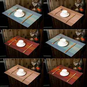 Details About Set Of 6 Placemats Stripe Bowl Kitchen Dining Room Pad Western Bar Table Mats