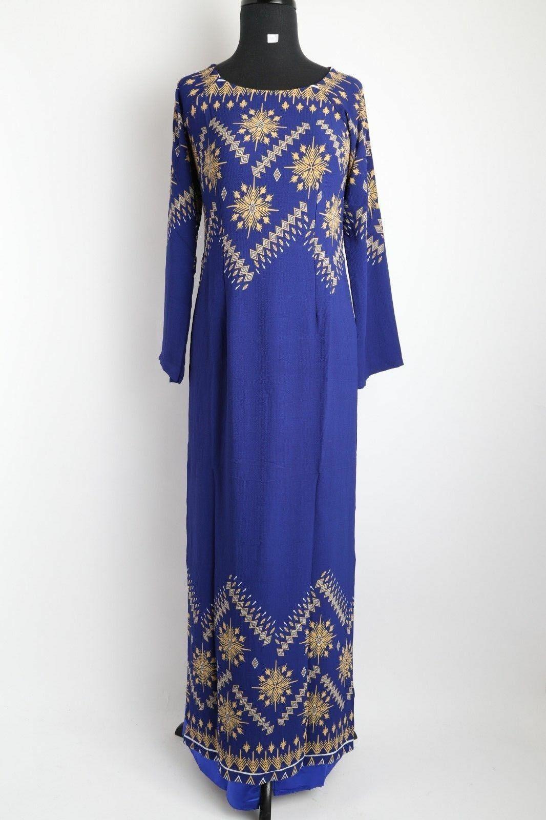 Vietnamese Ao Dai - Woherren Long Blau Ao Dai w  Pants - Größes M-XL, 4XL, 5XL