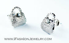 Cute Mini Silver Tone Small Bag Purse Handbag Stud Earrings Fashion Jewerly Gift