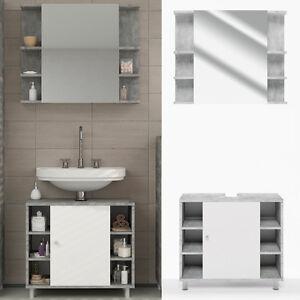 Details zu VICCO Badmöbel Set FYNN Grau - Bad Spiegel Waschtisch  Unterschrank Badschrank