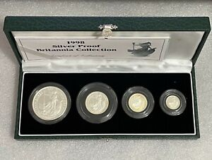 1998 Silver Proof Britannia 4 Coin Collection With Case & COA. £2, £1, 50p, 20p