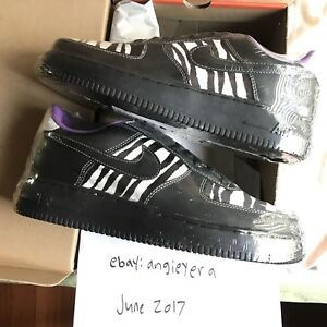 the latest 2a7fd 08479 Image is loading 2005-Nike-Air-Force-1-ZEBRA-BLACK-PURPLE-
